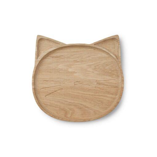 Liewood drveni tanjur - Cat Natural