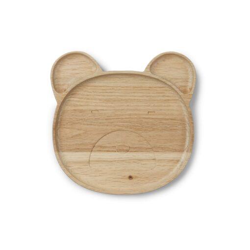 Liewood drveni tanjur - Mr. Bear Natural