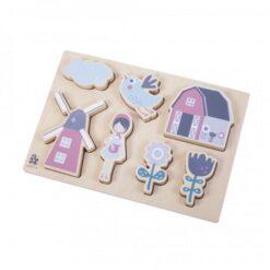Sebra drvene puzzle - Farm, girl