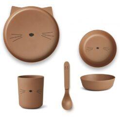 Liewood set za jelo - Cat Terracotta