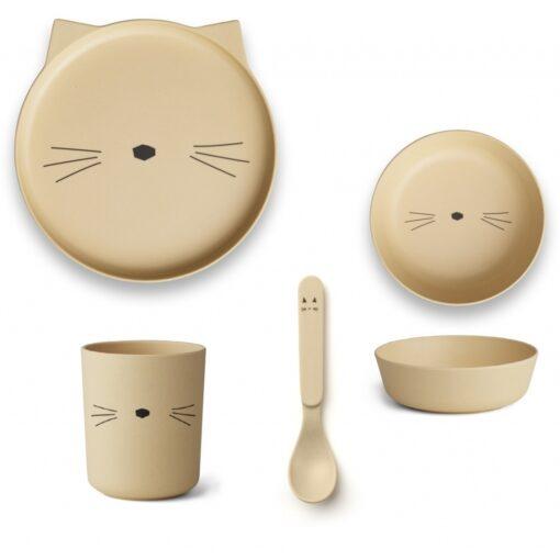 Liewood set za jelo - Cat Smoothie Yellow