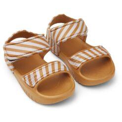 Liewood sandale - Stripe: Mustard/Creme de la Creme